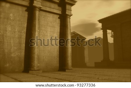 3d antique classical architecture roman monument render - stock photo