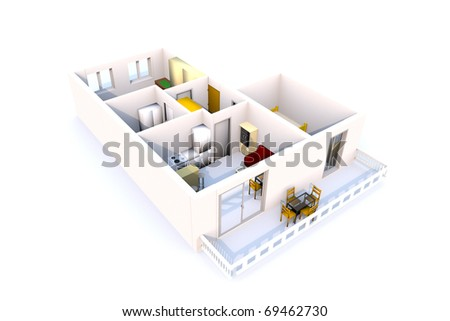 3D Apartment architecture - stock photo