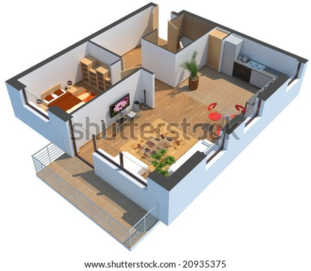 3D apartment with clipping path - stock photo