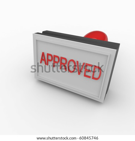 3d approved rubber stamp isolated on white