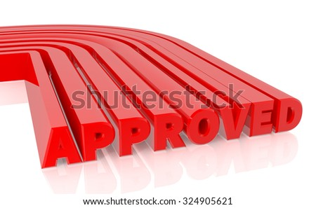 3D APPROVED word on white background 3d rendering - stock photo