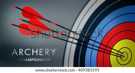 3d archery target with arrows - stock photo