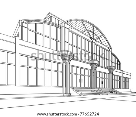 3D architectural abstract office. Concept - modern architecture. - stock photo