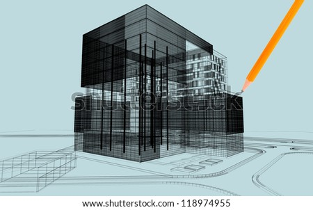 3d Architectural linear exterior