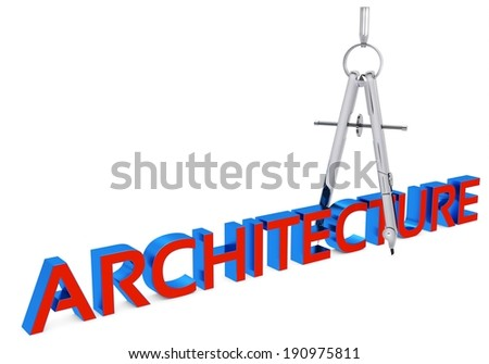 3d architecture and drawing  compass on white background