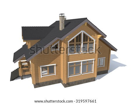 3D architecture model gray house  isolated in white