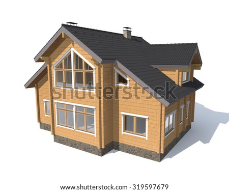 3D architecture model gray house  isolated in white - stock photo