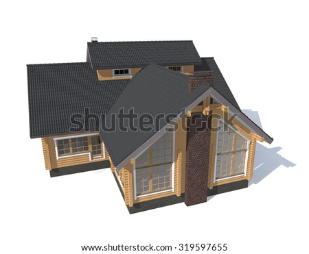 3D architecture model house  isolated in white - stock photo