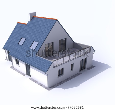 3D architecture model of a house, - stock photo