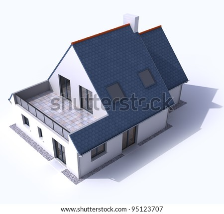 3D architecture model of a house, aerial view - stock photo