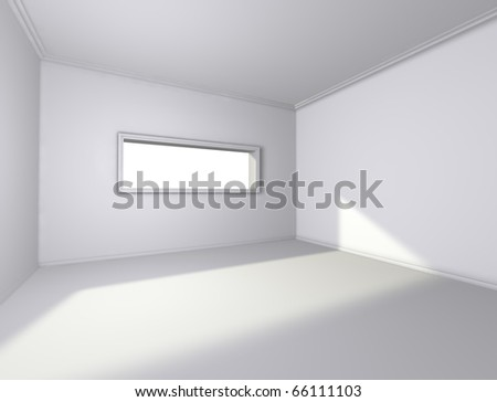 3d architecture of empty interior with window - stock photo