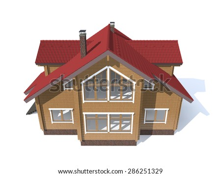 3D architecture wood model house  isolated in white - stock photo
