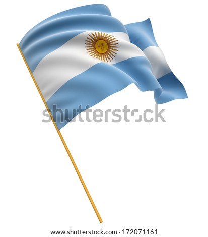 3D Argentina flag (clipping path included) - stock photo