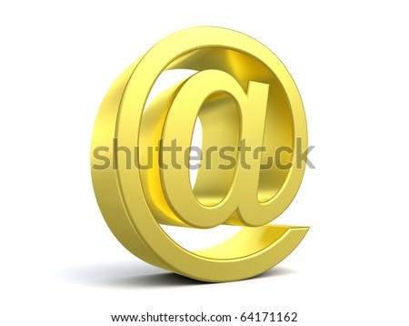 3d arroba from my golden collection - stock photo