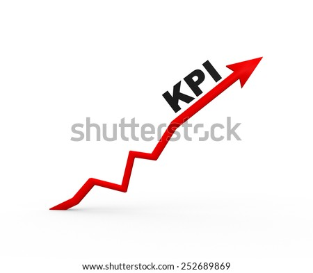 3d arrow and KPI ( Key performance indicator) - stock photo