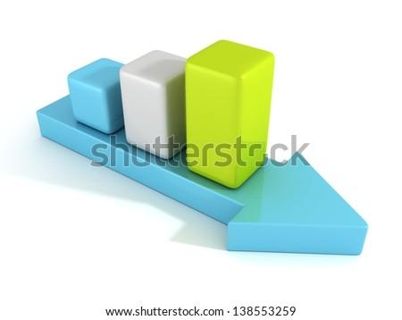 3d arrow and success business graph growing up - stock photo