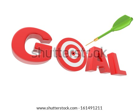 3d arrow and word GOAL with 3d target replacing letter O - stock photo
