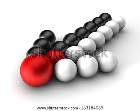 3d arrow black and white balls out of a merger on a white background - stock photo