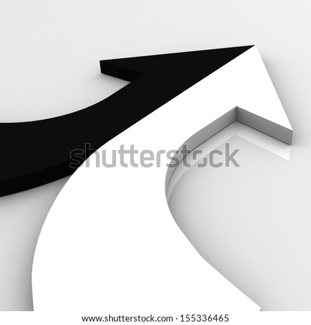 3d arrow black and white merging  - stock photo