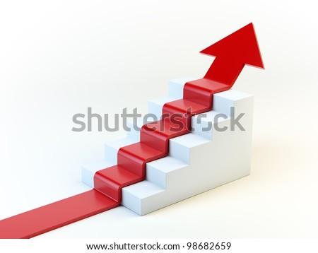 3D arrow climbing up over a staircase - stock photo
