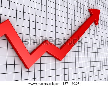 3d arrow graph with grid going upwards - stock photo