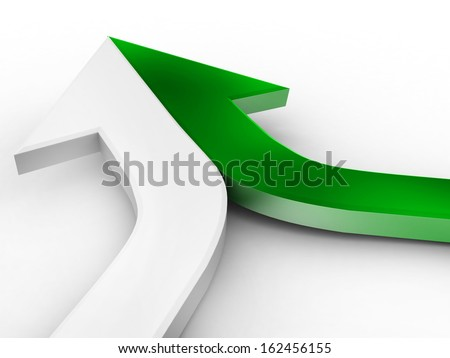 3d arrow green and white merging  - stock photo