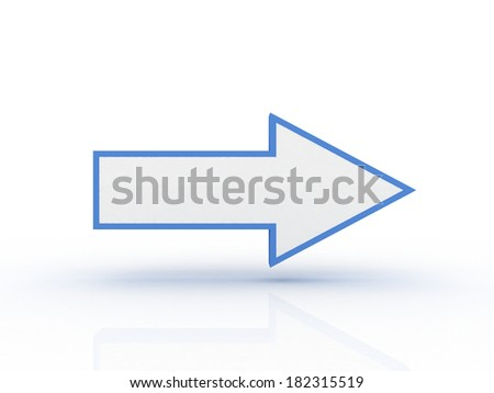 3d arrow in the right isolated on white background - stock photo