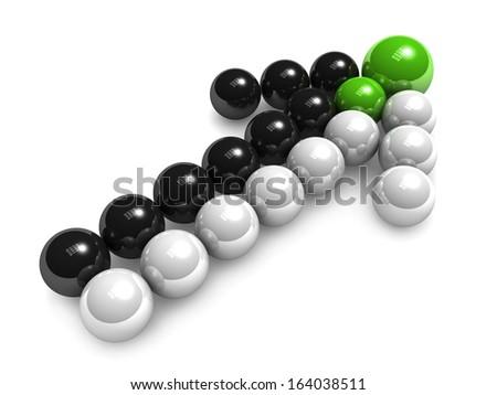 3D arrow of black white balls. Merges   - stock photo