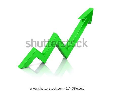 3d arrow pointer on white background - stock photo