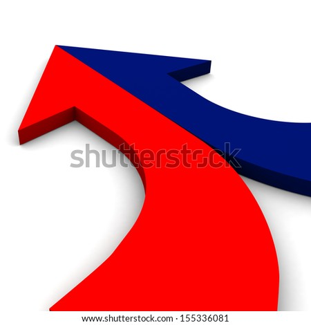 3d arrow red-and-blue merging  - stock photo