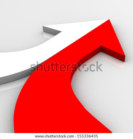 3d arrow red and white merging  - stock photo
