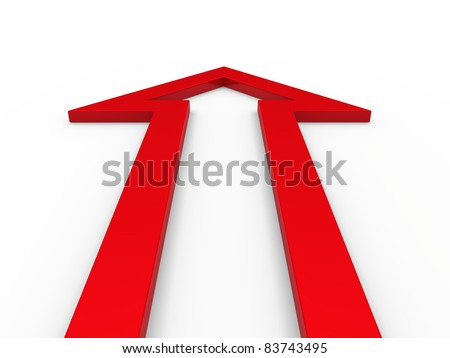 3d arrow red up growth success business - stock photo