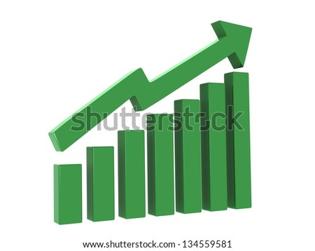 3d arrow showing pathway upwards gaining money profit in business