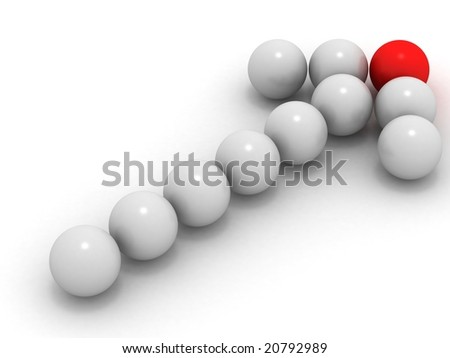 3d arrow white and red sphere