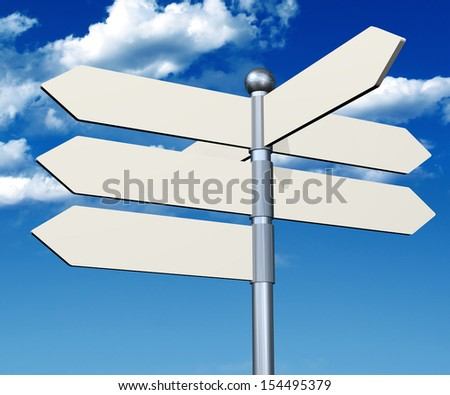 3d arrow white sign and a blue sky - stock photo