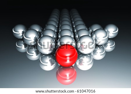 3d arrow with red and silver metal sphere - stock photo