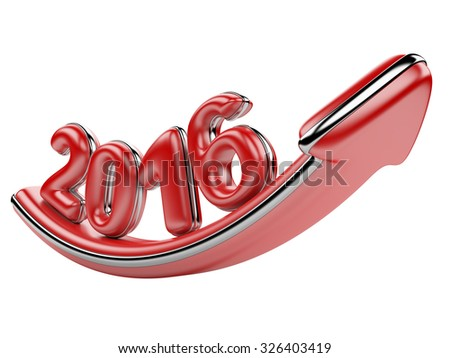 3D arrow with year 2016 growth upward, isolated on a white background - stock photo