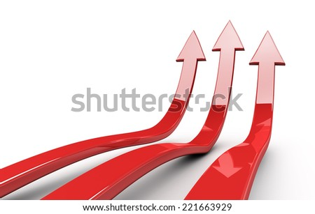 3d arrows, concept of success - stock photo