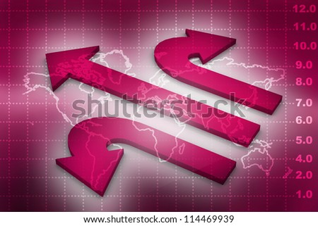 3d arrows on abstract background - stock photo