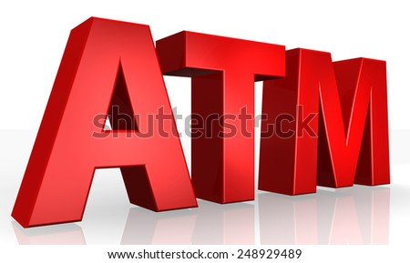 3D ATM text on white background - stock photo
