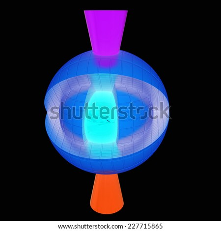 3d atom isolated on black background. Abstract model - stock photo