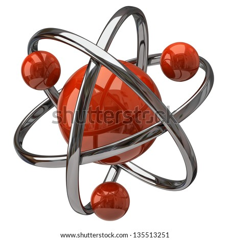 3d atom isolated on white background - stock photo