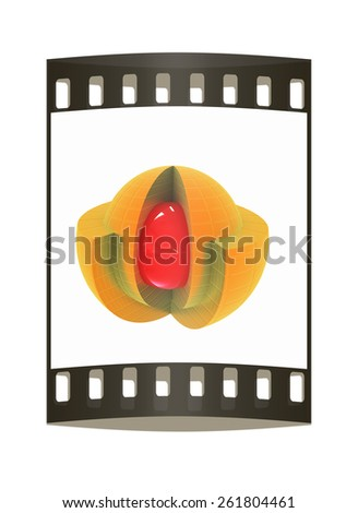 3d atom isolated on white background. Abstract model. The film strip - stock photo