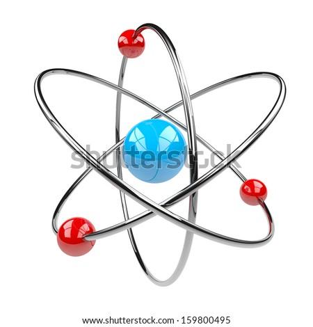 3D Atom Isolated on White Background Illustration - stock photo