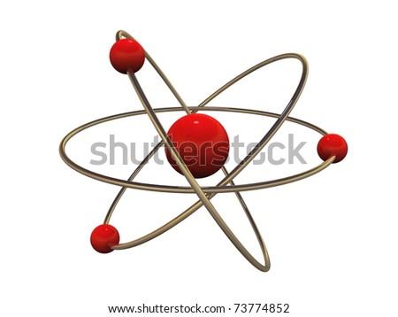 3d atom model - stock photo