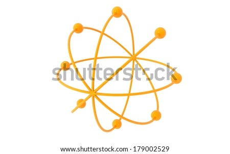 3d atom on white background. nuclear  - stock photo