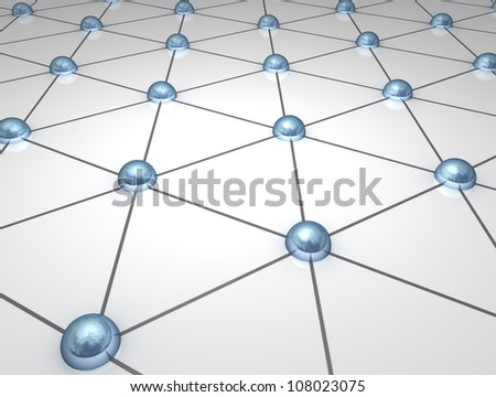 3D atomic network nodes (Metallic atom like spheres linked in a grid )
