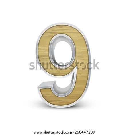 3d attractive wooden number 9 isolated on white background