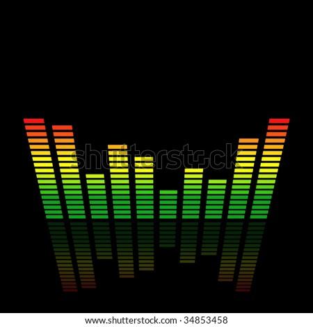 3D Audio Led Level Meter - stock photo