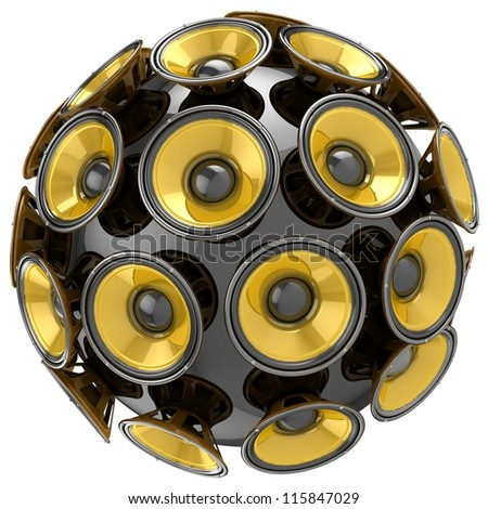 3D audio speakers sphere isolated on white background. - stock photo
